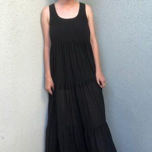 [urban] black tiered chiffon tank maxi dress